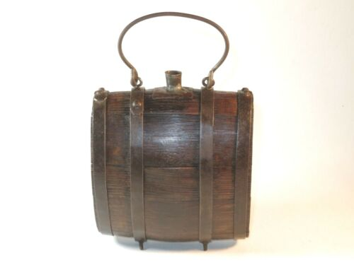 NICE 18TH CENTURY WOOD AND IRON POWDER BARREL  Original Period Items - 4070