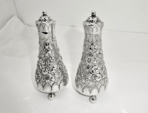 ANTIQUE TIFFANY WILD ROSE STERLING SILVER SALT & PEPPER SHAKERS,EXCELLENT,4 1/4""