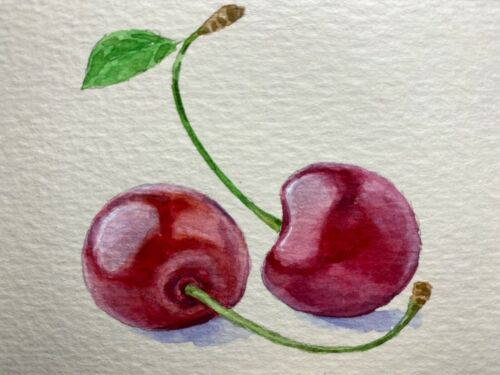 Watercolor Painting Cherry Green Leaf Harvest Farm ACEO Art