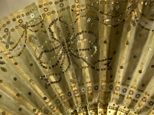 ART NOUVEAU TULLE EMBROIDERY W/ GOLD AND SILVER SEQUINS HAND FAN w/TASSEL c1900