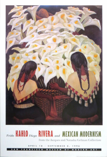 Frida KAHLO Diego RIVERA Mexican Modernism 1996 Museum Poster 36 x 24