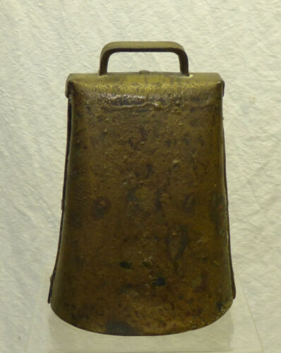 Antique Primitive Riveted Folded Iron Metal Cow Bell Cast Iron Clanger Clapper