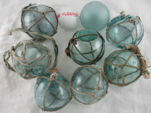 """8 Cutie Authentic Japanese 2-1/8"""" to 2.5"""" some marked Glass Floats Alaska Combed"""