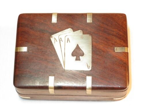 NICE BRASS AND WOOD BOX FOR PLAYING CARDS