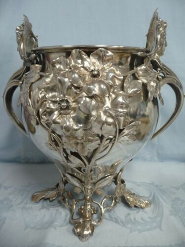 BEAUTIFUL ORNATE WMF OF GERMANY ART NOUVEAU SILVER PLATE WINE/CHAMPAGNE COOLER