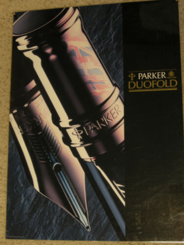 """1990 Parker Duofold Fountain Pen Store Display 22"""" x 30"""" Poster"""