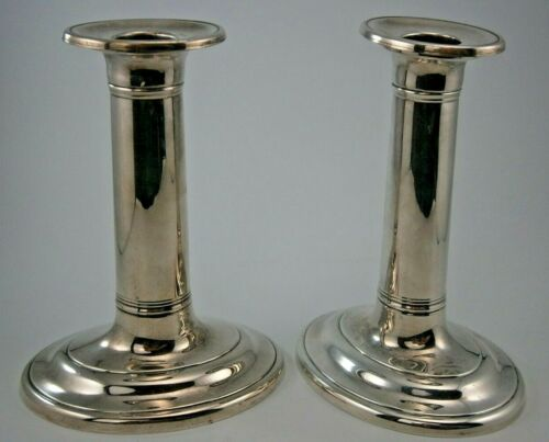 Pair of Williamsburg Sterling Hollowware Candlesticks w/Bobeches  by KIRK STIEFF
