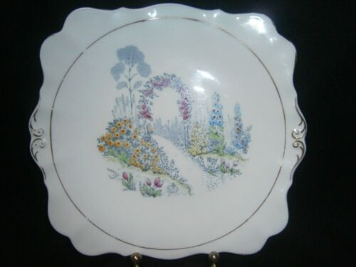 VINTAGE ROSLYN CHINA ENGLISH COUNTRY GARDEN CAKE SERVING PLATE FOR HIGH TEAS