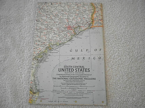 1961 VINTAGE MAP OF SOUTH CENTRAL UNITED STATES MAP NATIONAL GEOGRAPHIC