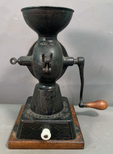 19thC Antique ENTERPRISE 4 Old CAST IRON Primitive VICTORIAN COFFEE Mill GRINDER