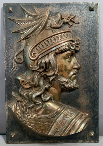 19thC Antique VICTORIAN Cast Iron WINGED DRAGON Helmet WARRIOR BUST Wall PLAQUE