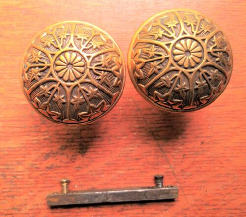 Two Antique Brass Fancy Ornate Six -Fold Doorknobs by Sargent c1888 - Excellent