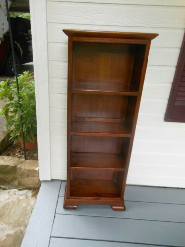 "Tall & Slim Vintage Solid Mahogany ""Open"" Bookshelf Book Rack From England"