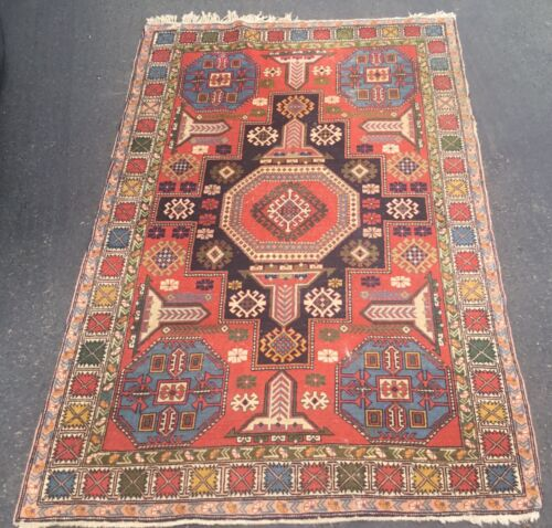 Vintage or Antique Tribal Caucasian Oriental Rug Kazak or? From Estate for Resto