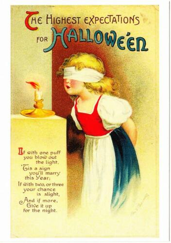 Halloween Repro Postcard #21 Blindfolded Girl Blows Out Candle Fortune Telling