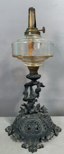 Antique VICTORIAN Figural CAST IRON MERMAID STATUE Old KOSMOS BRENNER Oil LAMP