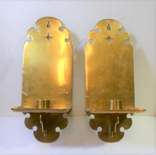"""Antique Pair BRASS WALL CANDLE SCONCES Mortise & Tenon Arts & Crafts Style 9.25"""""""