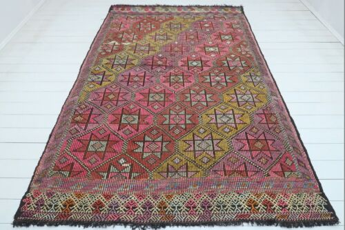 """Antique Turkish Mut Kilim, Embroidery Wool Large Rug, Pink Color Carpet 69""""x106"""""""