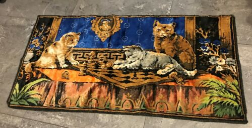 """Vintage Velvet Tapestry 3 Cats Kittens Playing Chess Gold Blue Brown  40""""x 20"""""""
