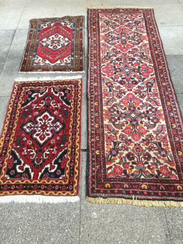 antico-swiss 3 Beautiful AntiqueBORJALOO rugs 2`6x7`5 and 2`1x3`3 and 2`1x3`2 ft