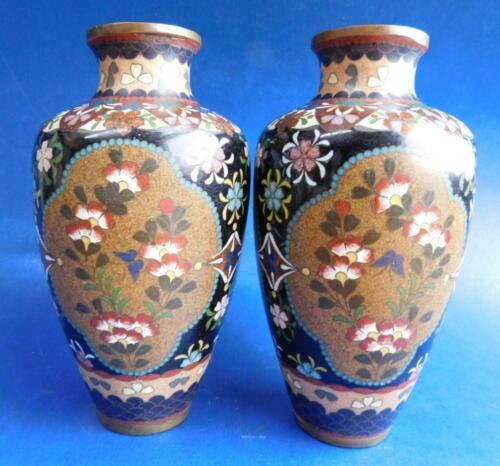 Superb pair early 20thC Chinese Black Cloisonné Butterfly Vase Pair