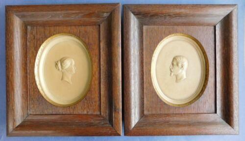 2X 1860s Antique Porcelain Napoleon III and Empress Eugenie Wall Plaques in Oak