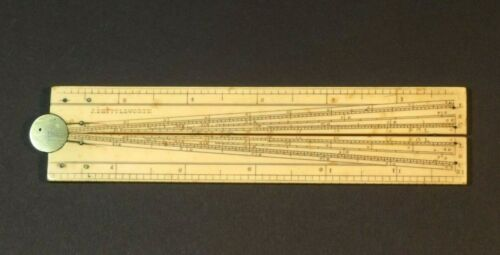 NICE 19TH CENTURY NAVAL OFFICER'S FOLDING RULER WITH MAKER'S NAME