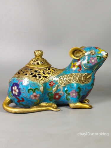 """8"""" China collection Old pure copper Cloisonne Rat luck incense burner"""