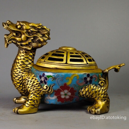 """7.4"""" China collection Old pure copper Cloisonne Dragon Tortoise Incense Burner"""