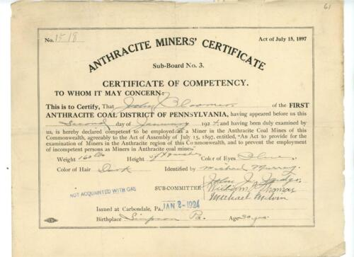 1924 Anthracite Coal Miner Competency Certificate Carbondale PA