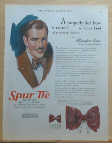 1930 magazine ad for Spur Ties - recommended by Banks Inc. tailors, bow ties