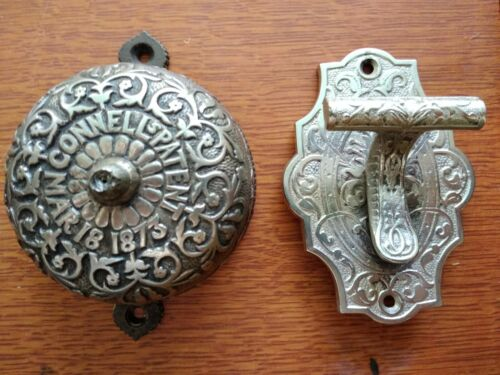 Antique Nickel Plated Mechanical Connells Doorbell & Silver-Plated Pull Pat.1874