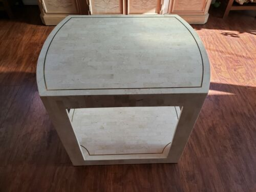 Karl Springer Tessellated Fossil Stone Hollywood Regency Coffee Side Table Brass