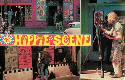 San Francisco Hippie Scene Haight-Ashbury Multiview Psychedelic Repro Postcard