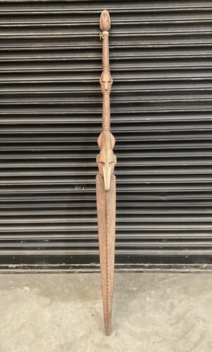 Large Old Papua New Guinea PNG Hand Carved Ceremonial Oar Paddle