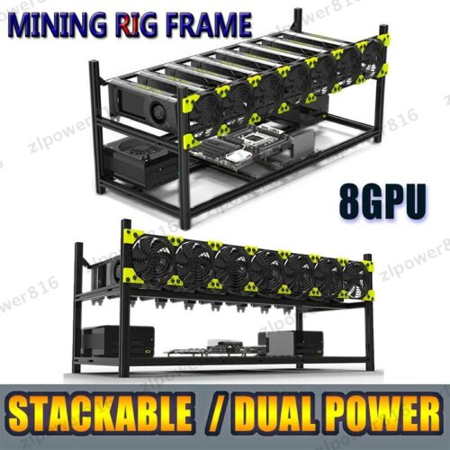 Veddha 8 GPU Stackable Open Air Mining Rig Frame Case Computer Ethereum Chassis