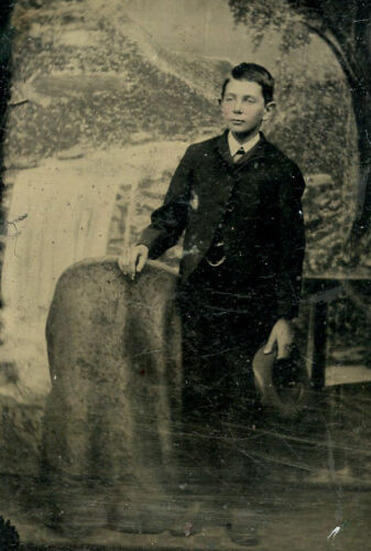 Antique Tintype Photo HANDSOME YOUNG BOY CHILD FASHION HAT