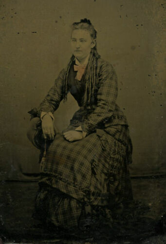 Antique Tintype Photo LOVELY YOUNG WOMAN FASHION DRESS LONG RINGLETS