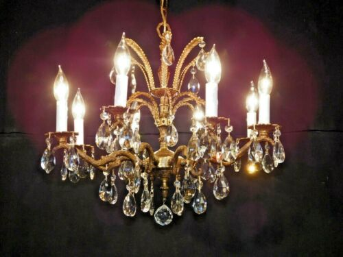 ANTIQUE French Glistening STATELY 8 Arm 8 Lite Brass Cut Lead Crystal Chandelier