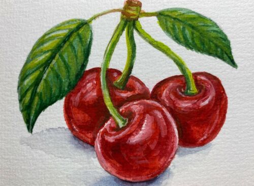 Watercolor Painting Cherries Cherry ACEO Art