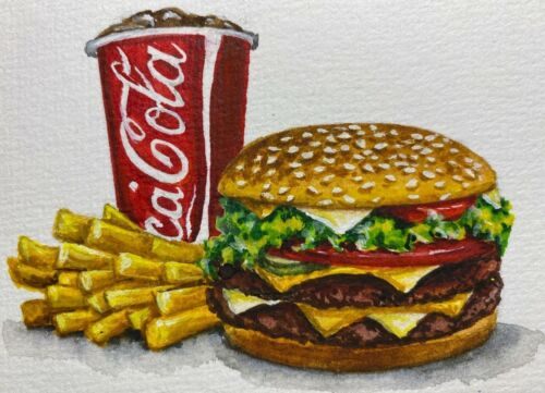 Painting Mc Donald's Meal Big Mac French Fry's Coca Cola Fast Food ACEO Art |