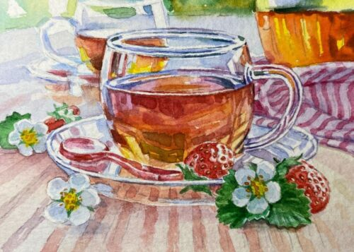 Watercolor Painting Strawberry Tea Clear Glass Cup ACEO Art