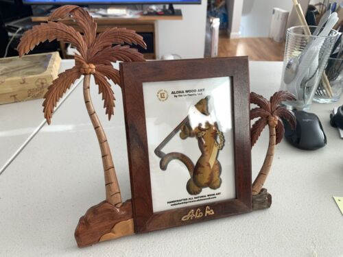L Hawaii Palm Tree Pictures Frame Hawaiian Handcrafted Wood Art Wall Hanging