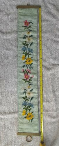 """Vintage Needlepoint Tapestry Floral Bell Pull Brass Hardware 29"""" x 4-1/2"""""""