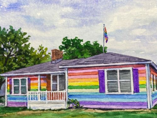 Watercolor Painting Rainbow House ACEO Art
