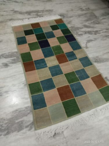 1970s abstract modern  handknotted wool home area rug India multicolored