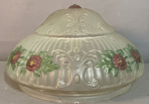 Antique EDWARDIAN ESTATE Old FROSTED GLASS Flower CEILING FIXTURE House SALVAGE