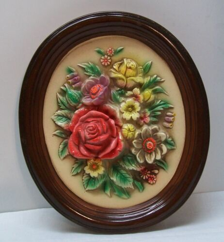 Pink Yellow Purple White Floral Wall Hanging Plaque Vintage Napcoware