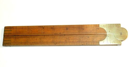 NICE 19TH CENTURY BRASS AND WOOD FOLDING RULER WITH MAKER'S NAME