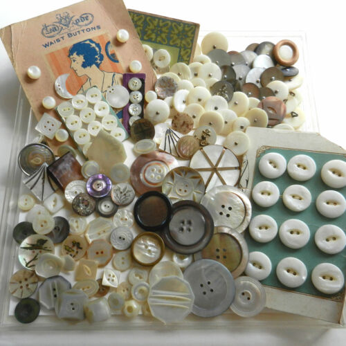 LOT Variety of Beautiful Antique Vintage Mother of Pearl Buttons Sets Tiny Large